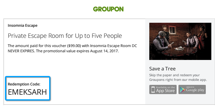 Groupon and Living Social terms - Insomnia Escape Room DC